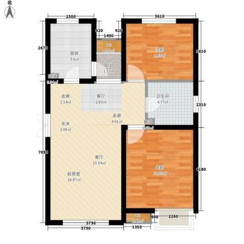 远洋新干线2室0厅1卫1厨90.00㎡户型图