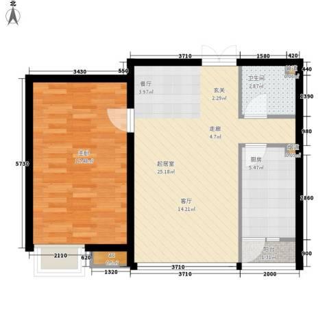 远洋新干线1室0厅1卫1厨80.00㎡户型图