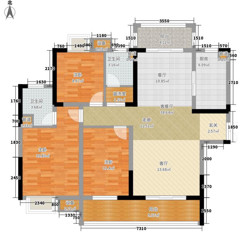 滨江一号130.32㎡揽景1号栋户型3室2厅