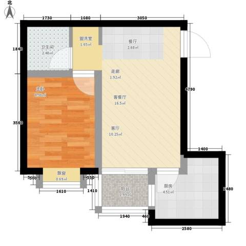 新福兴・面孔公社1室1厅1卫1厨54.00㎡户型图