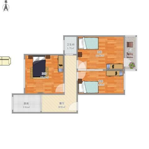 华侨路小区3室1厅1卫1厨69.00㎡户型图