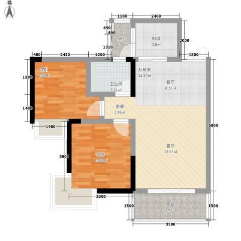 张坝・天府花园2室0厅1卫1厨85.00㎡户型图