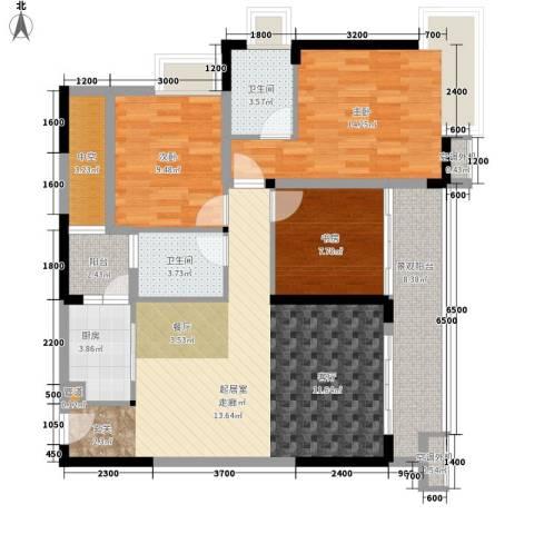 北回归线3室0厅2卫1厨88.91㎡户型图