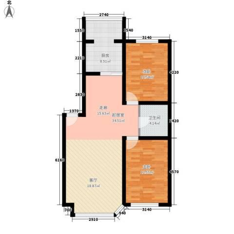 钻石礼都2室0厅1卫1厨89.00㎡户型图