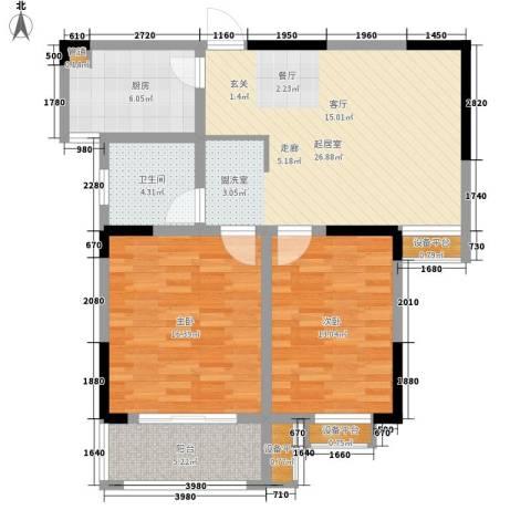 好运理想城2室0厅1卫1厨86.00㎡户型图