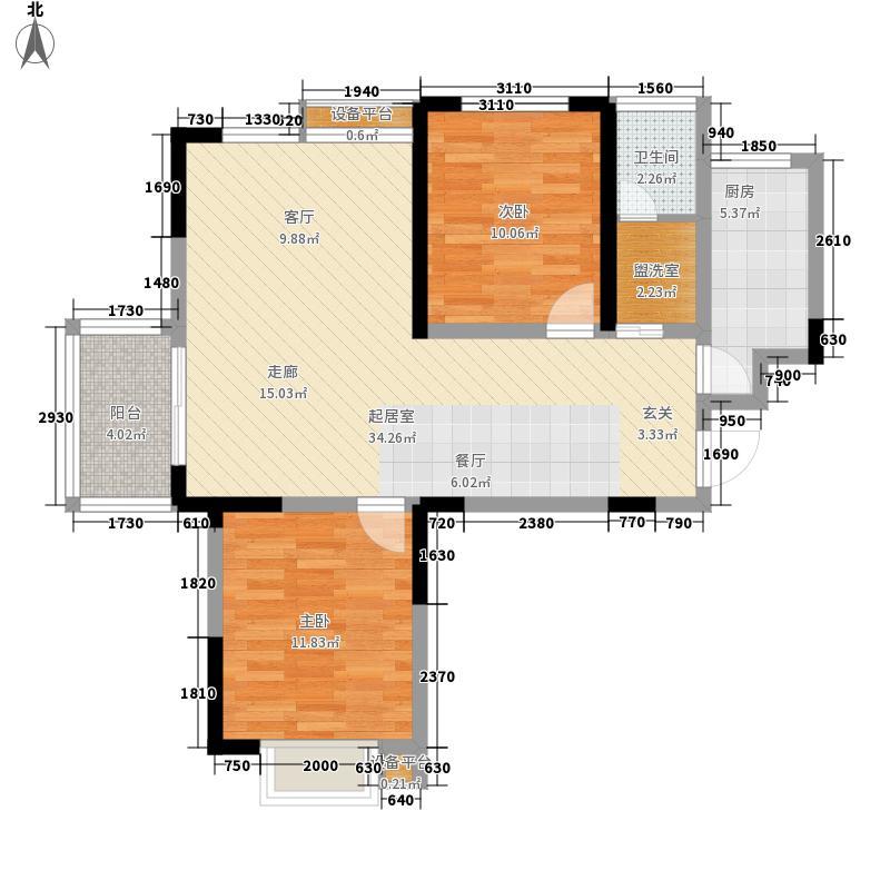 明珠湖畔82.00㎡明珠湖畔户型图20#楼在售户型2室2厅1卫1厨户型2室2厅1卫1厨