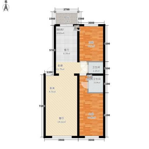 水岸康居2室1厅2卫0厨98.00㎡户型图
