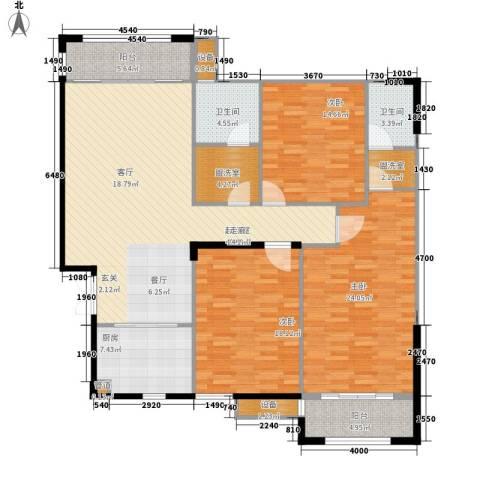 银城东方3室0厅2卫1厨145.00㎡户型图
