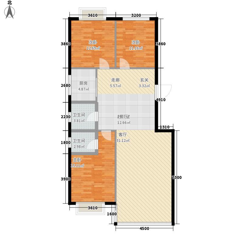 澳华城市花园户型图A1户型 3室2厅2卫1厨