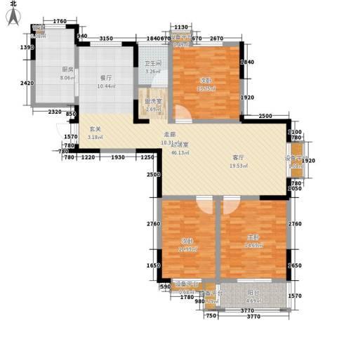 好运理想城3室0厅1卫1厨121.00㎡户型图