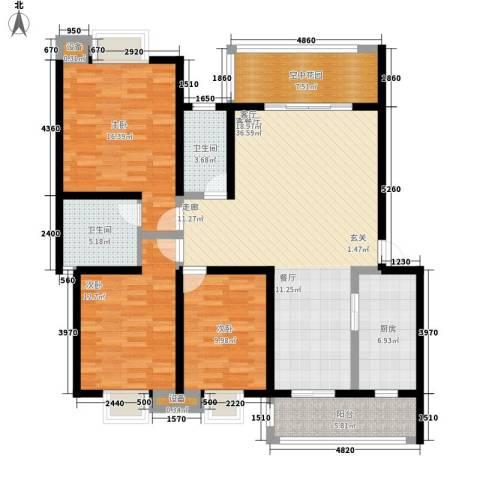 翰林苑小区3室1厅2卫1厨152.00㎡户型图