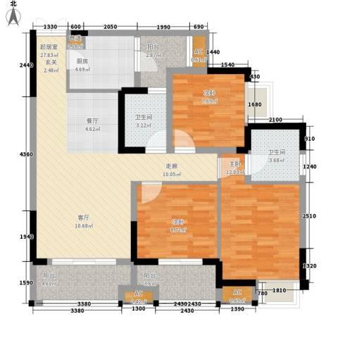 康德城市风云3室0厅2卫1厨88.00㎡户型图