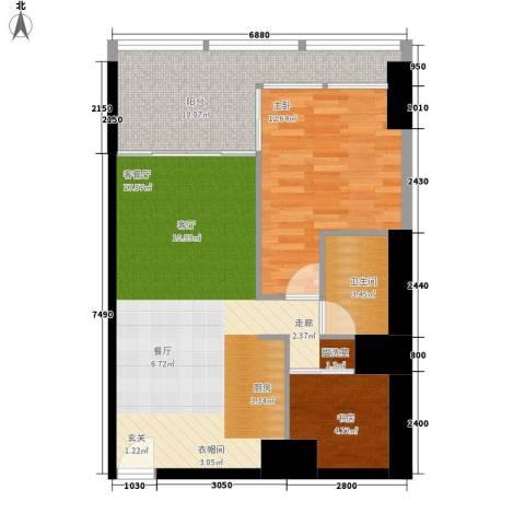 悉尼绿地中心2室1厅1卫0厨66.00㎡户型图