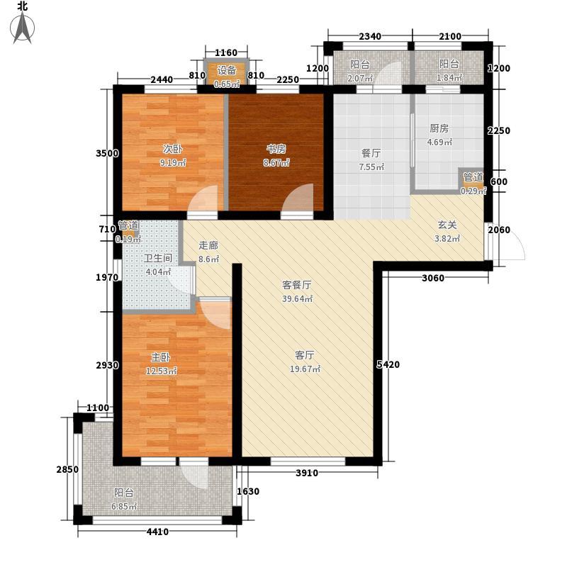 河畔新城・名门组团户型图B1户型 3室2厅1卫1厨