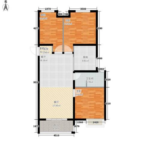 当代国际广场3室1厅1卫1厨117.00㎡户型图