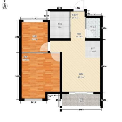当代国际广场2室1厅1卫1厨83.00㎡户型图