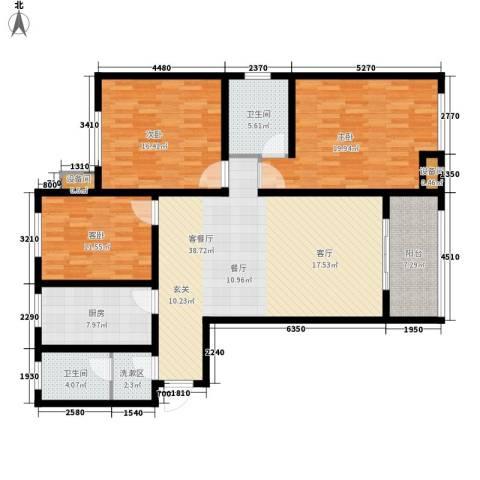当代国际广场3室1厅2卫1厨131.00㎡户型图