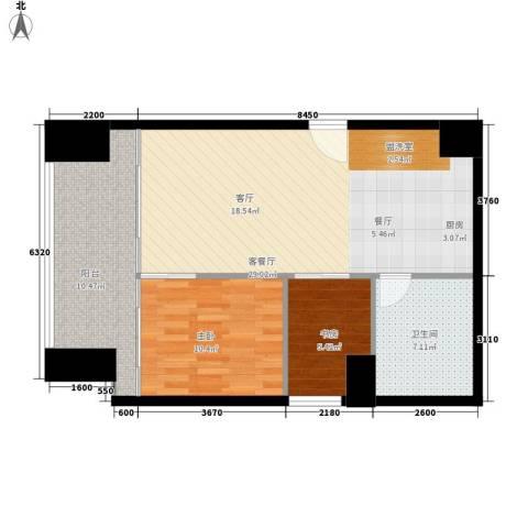 悉尼绿地中心2室1厅1卫0厨73.00㎡户型图