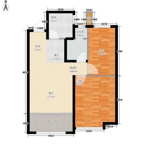 当代国际广场2室1厅1卫1厨89.00㎡户型图