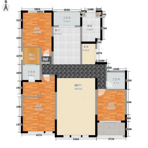 建发珑庭3室1厅3卫1厨177.00㎡户型图