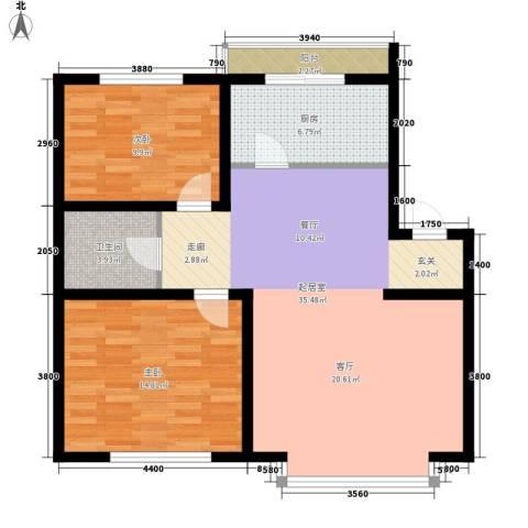 在水一方2室0厅1卫1厨88.00㎡户型图