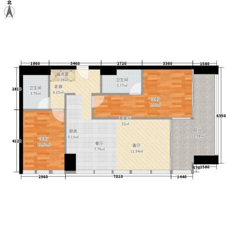 悉尼绿地中心2室1厅2卫0厨91.00㎡户型图