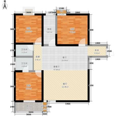宝枫佳苑3室1厅2卫1厨141.00㎡户型图