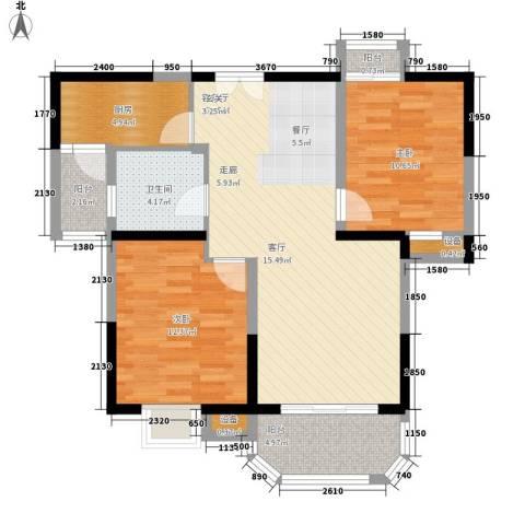 华鑫福邸2室1厅1卫1厨99.00㎡户型图
