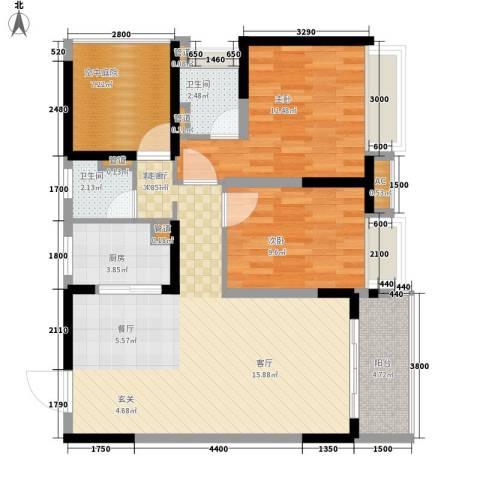 保利百合花园2室1厅2卫1厨94.00㎡户型图