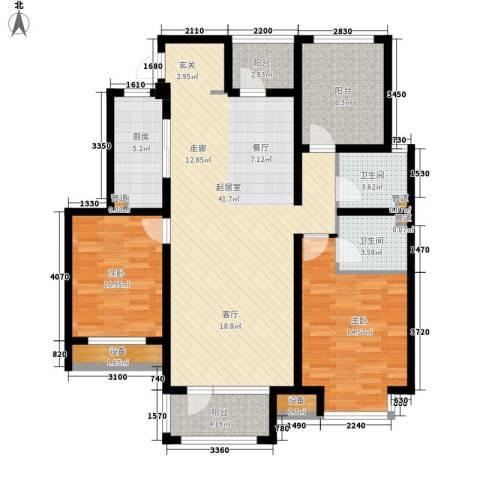 荣盛锦绣花苑2室0厅2卫1厨127.00㎡户型图