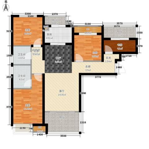 潮白河孔雀城剑桥郡4室0厅2卫1厨109.00㎡户型图