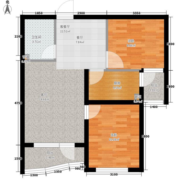 中天尚品二室一厅一卫户型