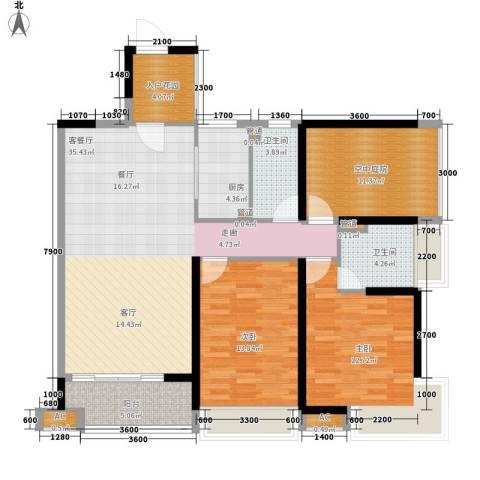 保利百合花园2室1厅2卫1厨117.00㎡户型图