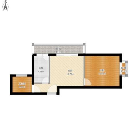 新世家小区1室1厅1卫1厨61.00㎡户型图