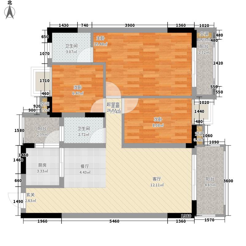 宜家水岸花园88.58㎡宜家水岸花园户型图13幢2-5层04户型2室2厅2卫1厨户型2室2厅2卫1厨