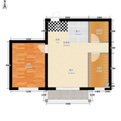 湖岸新城1室0厅1卫1厨56.00㎡户型图