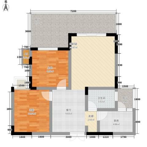 张坝・天府花园2室0厅1卫1厨106.00㎡户型图