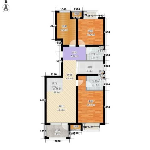 荣盛锦绣花苑3室0厅2卫1厨119.00㎡户型图