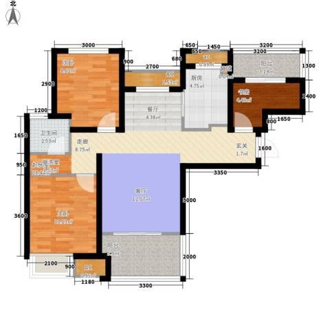 潮白河孔雀城剑桥郡3室0厅1卫1厨87.00㎡户型图
