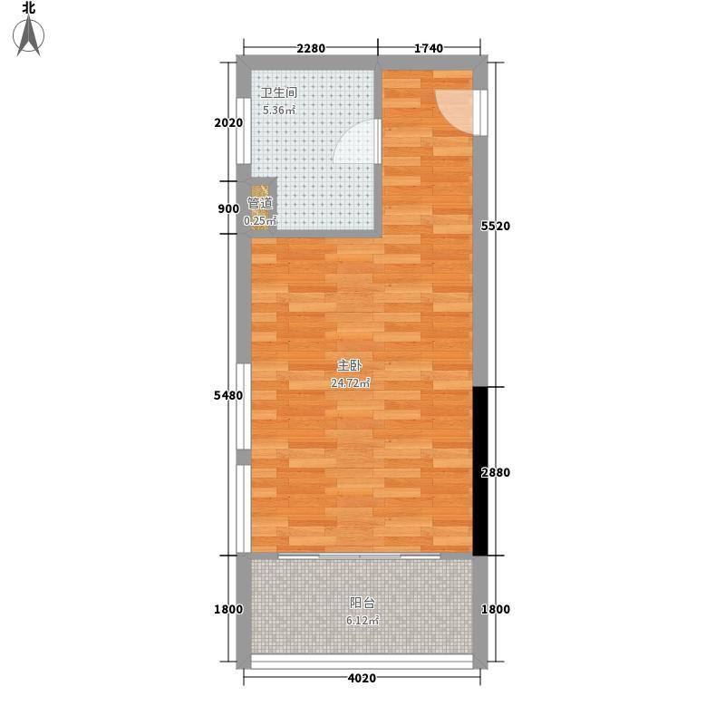 富港东汇城41.69㎡富港东汇城户型图国际宫寓18单元14-28层1室1卫1厨户型1室1卫1厨