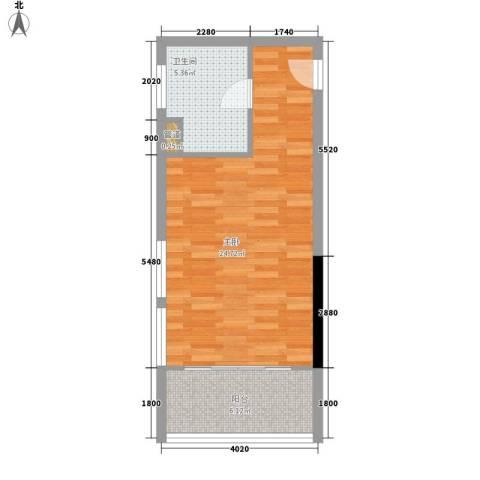 富港东汇城1室0厅1卫0厨42.00㎡户型图