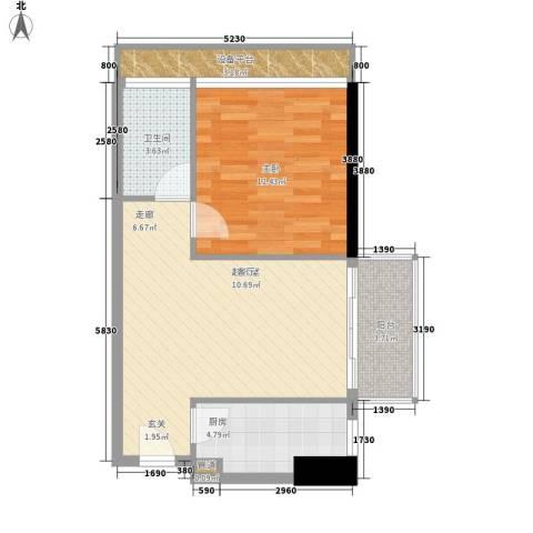 富港东汇城1室0厅1卫1厨55.00㎡户型图
