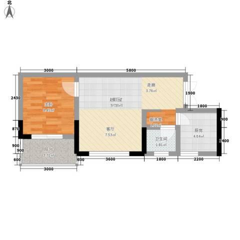 张坝・天府花园1室0厅1卫1厨54.00㎡户型图