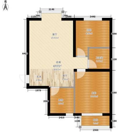 湖岸新城2室0厅1卫1厨69.00㎡户型图