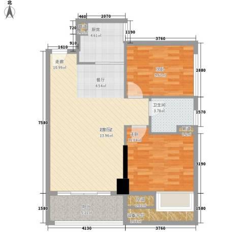 富港东汇城2室0厅1卫1厨78.00㎡户型图