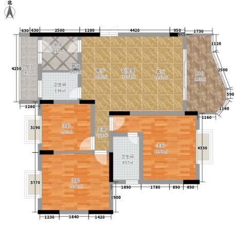 伴山名都3室0厅2卫1厨102.00㎡户型图