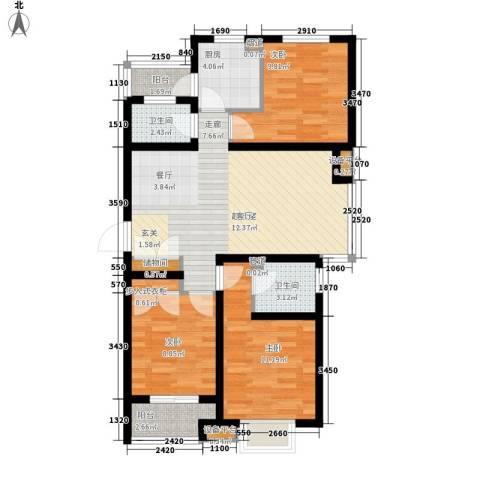 双清别院3室0厅2卫1厨85.00㎡户型图