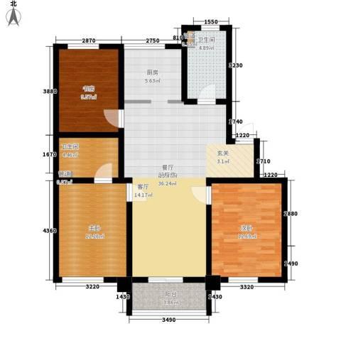铭雅欧洲城3室0厅2卫0厨97.00㎡户型图
