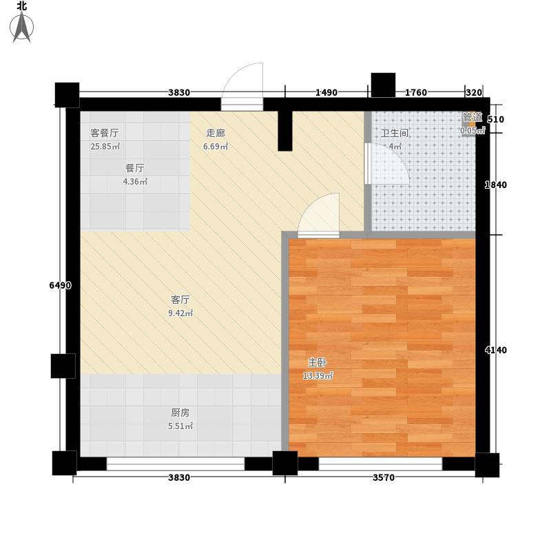 南岭花园48.04㎡户型1室1厅1卫1厨