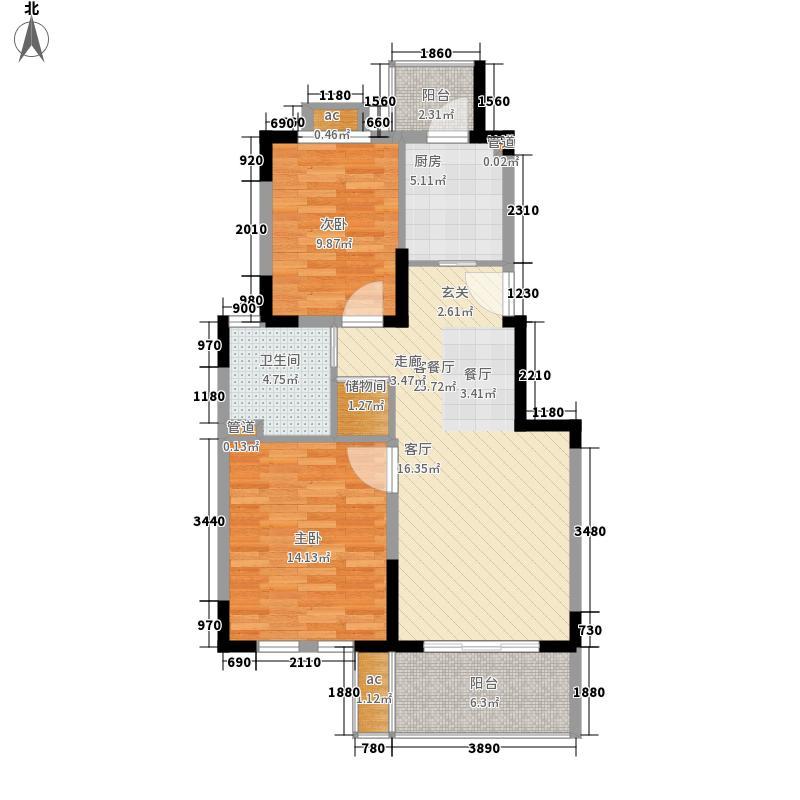 红墅1858公寓户型图G户型 2室2厅1卫